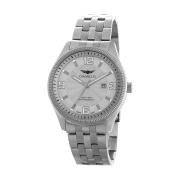 Vernier Men's Stainless Steel Silvertone 5 Link Bracelet Watch