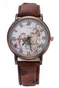 Womens Watch, Coxeer Retro Map Roman Numerals Strap Round Dial Quartz Movement Wrist Watches for Girls