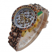 Womens Watch, Coxeer Fashionable Silicone Strap Leopard Print Casual Wrist Watch as Gifts