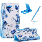 Strap Leather Case for Sony Xperia XA,Flip Portable Carrying Case for Sony Xperia XA,Herzzer Premium Stylish Blue Butterflies Printed Foldable Full Body Folio Pu Leather Stand Cover with Card Slots