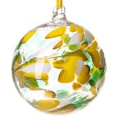 Glass Friendship Ball 12cm Green White Yellow