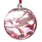 Glass Friendship Ball 12cm Pink White