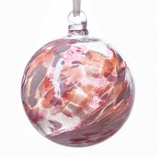 Glass Friendship Ball 10cm Pink White
