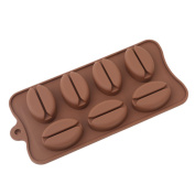 ODN Coffee Bean Shape Ice Cube Chocolate Fondant Soap Tray Mould Silicone Party Maker