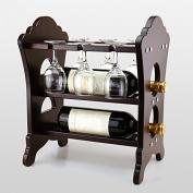 LIXIONG Wine rack 2 Bottles Holder goblet Shelf wood Display Shelves , 33 * 24 * 40cm