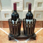 LIXIONG Wine rack 2 Bottles Holder Handmade bamboo American retro style Display Shelves , 28 * 13.5 * 20cm