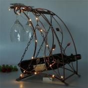 2 Bottle Wine Rack -Iron Multi-function Floor Wine Shelf Goblet Hanging Shelf