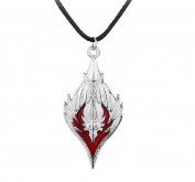 World of Warcraft Horde Necklace Leather Necklace Silver Red