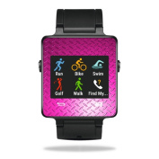 MightySkins Protective Vinyl Skin Decal for Garmin Vivoactive Smartwatch cover wrap sticker skins Pink Diamond Plate