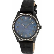 Kenneth Cole KC2765 Women's Black Leather Band With Blue Analogue Dial Watch NWT