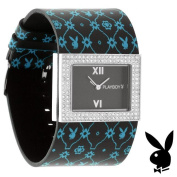 Playboy Watch Bunny Black Leather Band Crystals Stainless Steel Back
