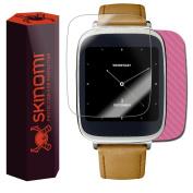 Skinomi TechSkin - Pink Carbon Fibre Skin & Screen Protector for Asus Zenwatch