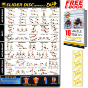 Slider Disc Exercise Workout Glider Disc Banner Poster BIG 51 X 73cm Train Endurance, Tone, Build Strength & Muscle Home Gym Chart