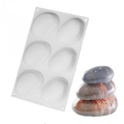 VALINK 6 Cavity Elliptical Pebble Stone Silicone Cake Mould Chocolates Jelly Dessert Mousse Mould Bakeware Pan for Pastry Fondant Soap Sweet, Baking Mat Mould Kitchen Cake Tin Tool