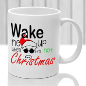 Anti Christmas mug, Wake me up when its not christmas, Xmas joke mug