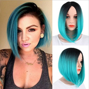 Royalvirgin Women's Wig Short Bob Dark Root Wig Women's Fashion Top Quality Heat Resistant Synthetic Ombre Black to Blue Hair Wigs for Women