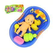 Baokee kids Plastic Baby Doll in Bath Tub with Shower Accessories Set Pretend Play Toy random colour