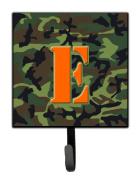 Letter E Initial Monogram - Camo Green Leash Holder or Key Hook