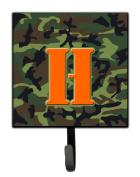 Letter H Initial Monogram - Camo Green Leash Holder or Key Hook