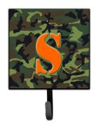 Letter S Initial Monogram - Camo Green Leash Holder or Key Hook