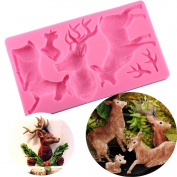 BeautyBouse 3D Silicone Elk Chocolate Sugar Fondant Cake Embossing Mould Handmade Soap Mould DIY Baking Decorating Tools