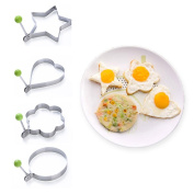Fried Egg Mould,Woopower 4PCS Egg Mould Cookies Omelette Pancake Ring Cake Model Shaper Stainless Steel Kitchen Tool