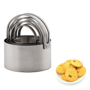 OUBORUI 4 PCS Stainless Steel Cutter Mould with Handle Easy-operating Baking Mould for Cookies Biscuits
