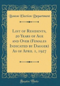 List of Residents, 20 Years of Age and Over (Females Indicated by Dagger) as of April 1, 1927