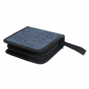Unique Bargains 40 Disc Square Map Pattern CD DVD Album Holder Bag Wallet Storage Case Blue