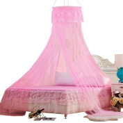 Round Princess Curtain Round Mosquito Net Insect Bed Canopy Netting Hanging Curtain Pink