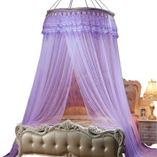 Round Princess Curtain Round Dome Mosquito Net Insect Bed Canopy Netting Hanging Curtain Big Screen Repellant for Home Travel Purple