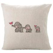 Dragon868 Lovely Animal Pillow covers, Home Decor Cute Cartoon Elephants Cushion Cover 45cmx45cm