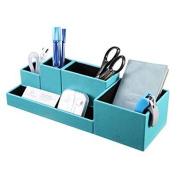 vpack leatherette 5-compartment multifunctional diy office desk organiser,desktop stationery storage box, card/pen/pencil/mobile phone/remote control holder, assorted colour