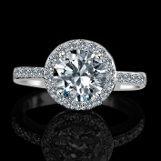 Diamond Veneer - 2ct Centred Round Radiant in Halo Setting Embellished by Simulated Stones Simulated Diamond Engagement Ring