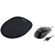 Insten Black USB 2.0 Ergonomic Optical Scroll Wheel Mouse + Black Wrist Comfort Mouse Pad