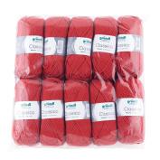Gründl 3488 Classico, Value Pack 10 All Balls Hand Knitting Wool/Yarn 50% Virgin Wool 50 g Merino Superwash), 50% Polyacrylic, red, 30 x 32 x 8 cm