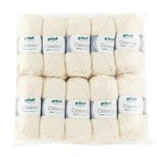Gründl 3488 Classico, Value Pack 10 All Balls Hand Knitting Wool/Yarn 50% Virgin Wool 50 g Merino Superwash), 50% polyester, cream, 30 x 32 x 8 cm
