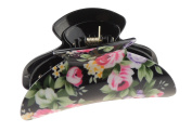 Ladies Large 9cm Floral English Rose Garden Black Hair Claw Clamp