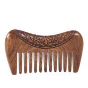FullGold Beauty Black & Gold Sandalwood Handmade Wood Comb Hair Comb for Head-Massage with Natural Fragrance Smell with Anti-Static