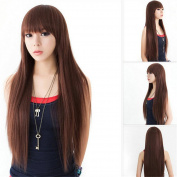 wig Girls Fashion Bangs Long straight hair Chemical head caps