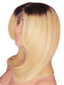 MOKLOX Wig Remy Human Hair Front Lace 41cm Medium Layered Brown Light Blonde 4 613 Ombre Roots 150% Density