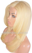 MOKLOX Wig Remy Human Hair Wig Front Lace 46cm Long Silky Straight Light Blonde 613 150% Density