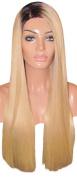MOKLOX Wig Remy Human Hair Wig Glueless Full Lace 60cm Very Long Light Blonde Black 1b Roots 60 613 150% Density