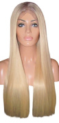 MOKLOX Wig Remy Human Hair Full Lace 60cm Very Long Silky Straight Light Blonde Ash Roots 9 60 613 150% Density