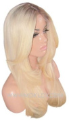 MOKLOX Wig Remy Human Hair Front Lace 50cm Long Layers Light Blonde Ash Roots 9 60 613 Thick 180% Density