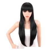 Womens Black Wig Long Straight Hair Wig Personalised Wig