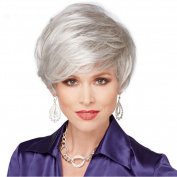 Middle-aged Lady Wig Grey Short Curly Hair Personalised Fashion Wig Hood