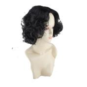 Women's Fashion Wig Black Short Curly Hair Natural Fluffy Soft Hair Personalised Headdress