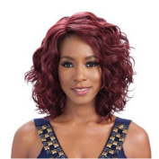 Ladies Fashion Wig Head Medium Long Hair Curly Hair Wine Red Personality Hairstyle