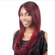 Ladies Fashion Wig Head Wine Red Long Straight Hair Natural Oblique Bangs Wig